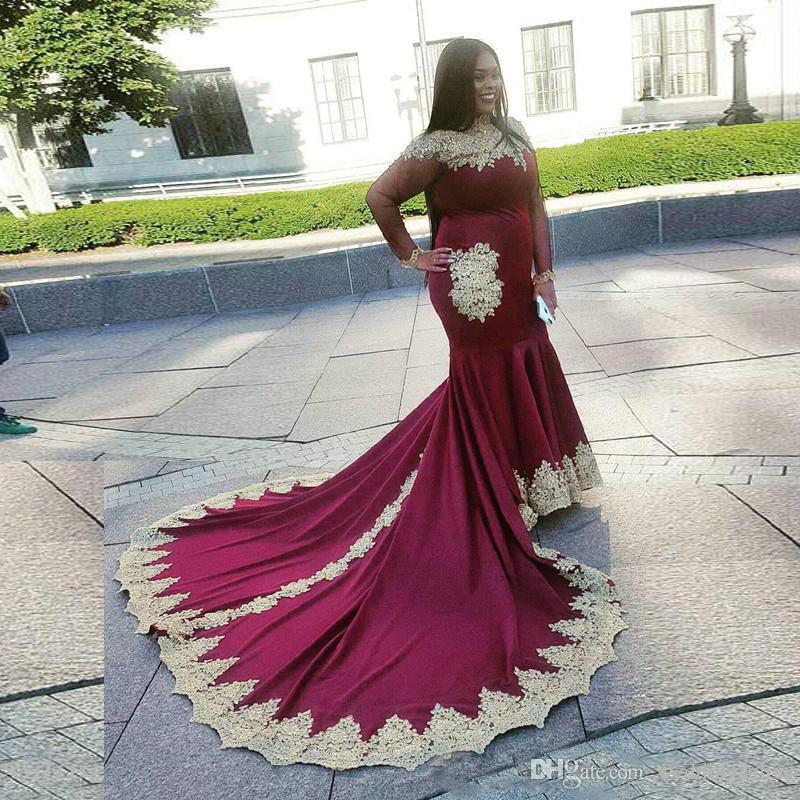 Plus Size Burgundy Mermaid South Africa Evening Dresses High Collar Illusion Celebrity Dress With Gold Appliques Special Occasion Gown