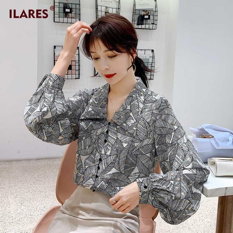 ILARES Блуза Женщины Женская Топы и блузки Плюс Размер рубашки с длинным рукавом Vintage листьев шаблон шифон леди Женское блузка