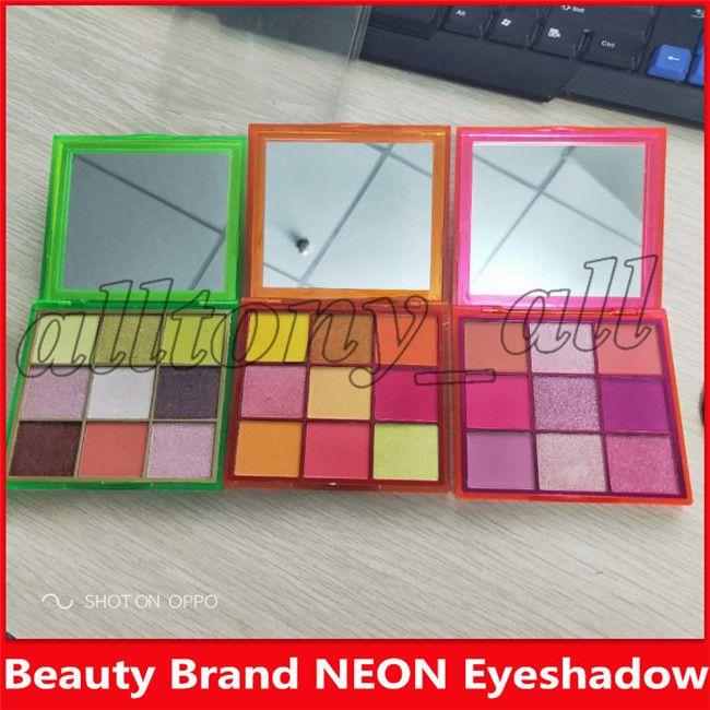 2019 Hot Beauty Marque fard à paupières NEON 3 Styles 9 couleurs Matte Shimmer Eyeshadow Cosmetics Livraison gratuite