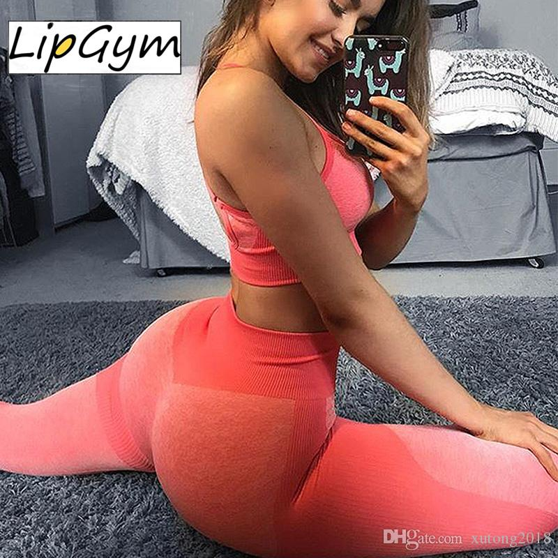 Yoga Suit Gym Women Seamless Sports Suit Fitness Workout Set Sportswear Gum Top Sport Pants Tracksuit Running Clothing Ladies