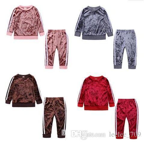 Meninos Meninas Conjuntos de Roupas de Bebê Corduroy Infantil Tops Calças 2 pcs Set Outono Inverno Boy Girl Childrens Casa Boutique Roupas Outfits
