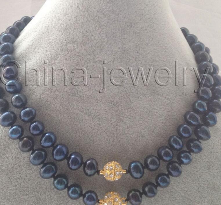 """collier Livraison gratuite ++++ rapide Belle plus longue 32 """"10mm noir rond collier de perles d'eau douce - aimant zircon"""