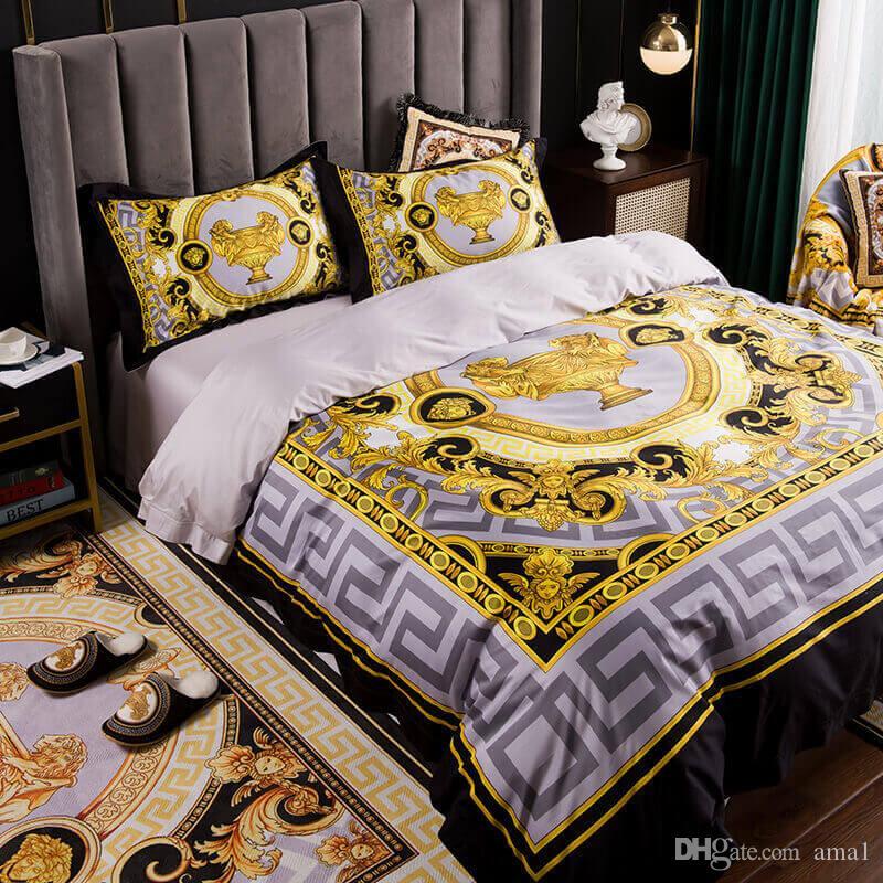 Melhor qualidade de Luxo Real francês Itália Design Marca imprimir casamento Rei Rainha Bedding Conjuntos Duvet capa/folha / Fronha