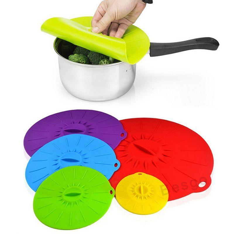 5Pcs/set Silicone Stretch Lids Reusable Fresh Keeping Wrap Food Grade Universal Food Seal Lid Pan Cover Kitchen Tools Bowl Pot Lid BC BH2739