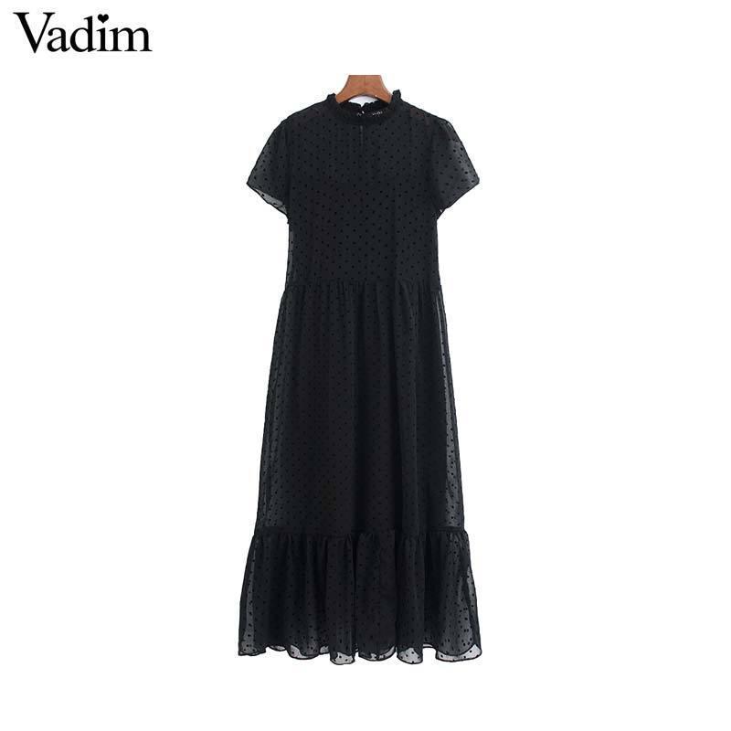 Vadim Frauen schicke Punkte entwerfen Chiffon schwarz midi kurze Ärmel weibliche stilvolle feste Mitte Wade Kleider Sommer vestidos QD116 MX200319 Kleid