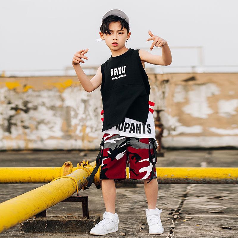 Boy Hip Hop del costume di ballo per bambini Nero Gilet Red Camouflage Pants Ragazzi Mordern Jazz Street Dance Clothes bambini Stage Show DN2083