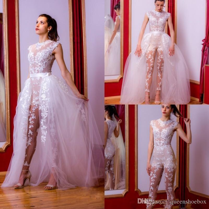 2020 magníficas blancos de la envoltura de la boda Vestidos Monos Con desmontable del cordón del tren apliques de tamaño extra grande de los vestidos nupciales juegos de pantalones robe de mariée