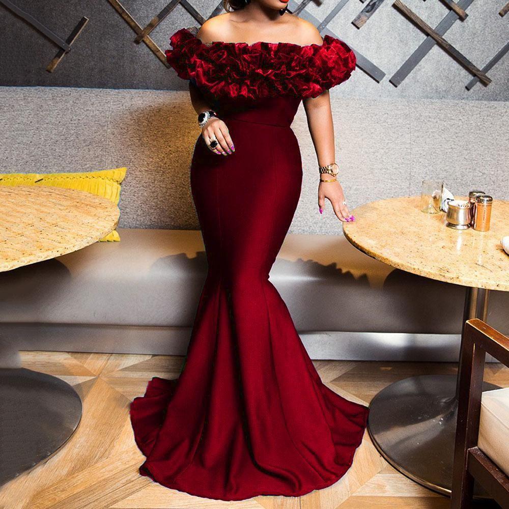Sexy fuori dalla spalla lunghi abiti da sera aderente Mermaid Prom Dress africano 2020 convenzionale elegante del partito di usura