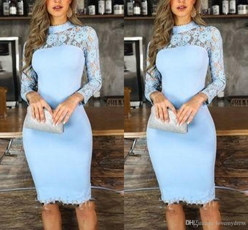 2020 Sheath Light Blue Cocktail Party Dresses High Neck Illusion Long Sleeve Lace Knee Length Prom Evening Special Occasion Dress Cheap