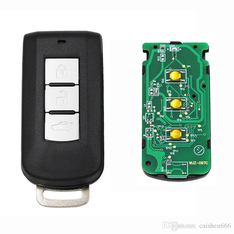 3 أزرار الذكية بعيد مفتاح فوب 433MHz ورقاقة 7952 لميتسوبيشي مع مفتاح صغير