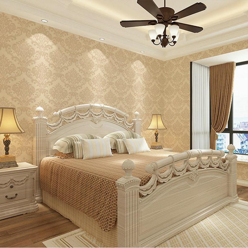 Новый 2019 Нетканые обои европейского Дамаска обои гостиной спальня столовая комната прикроватные ТВ фон обоев