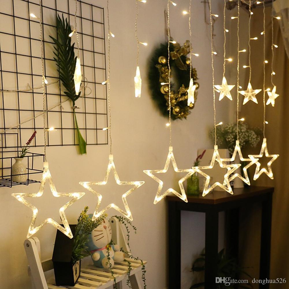 LED-Schnur-Licht Penta Stern-Vorhang-Licht-Fee Hochzeit Geburtstag Weihnachtsbeleuchtung Innendekoration Licht 220V IP44