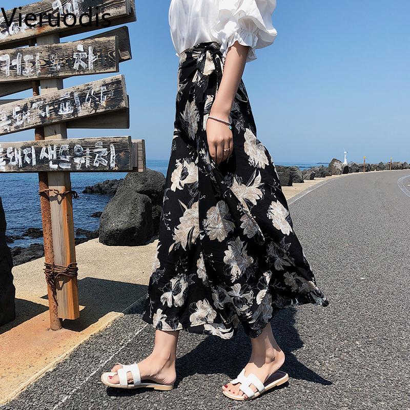 Vieruodis imprimé coréenne femmes jupes robe de plage décontracté floral a-ligne jupe à lacets longueur longue jupe longue harajuku