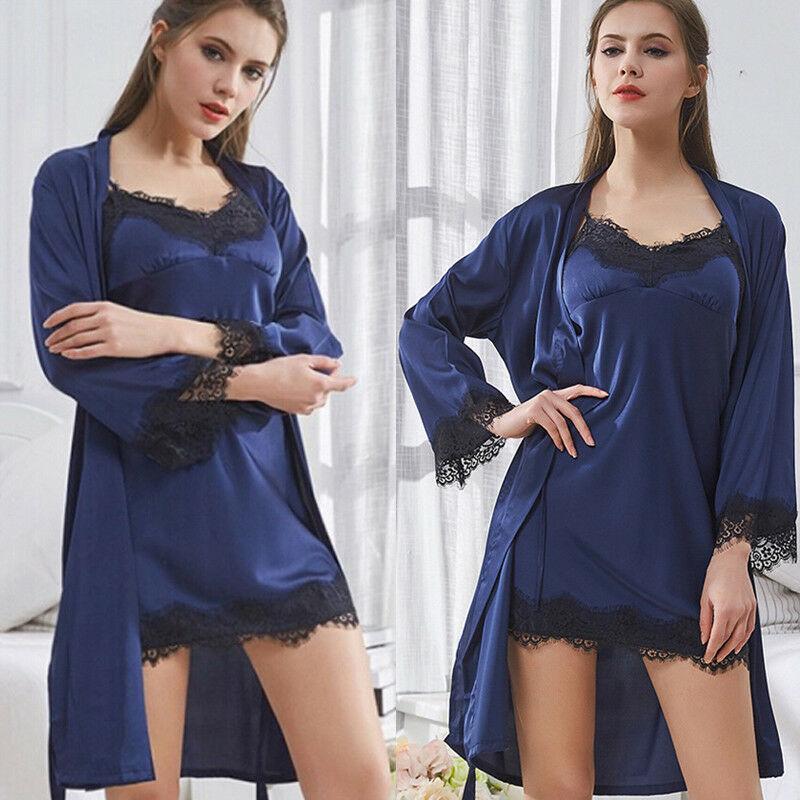 Sexy V-Neck Lace malha Lace Nightdress Pijamas Perspectiva Pijamas Ladies Silk Robe Pijamas Pijamas Camisola