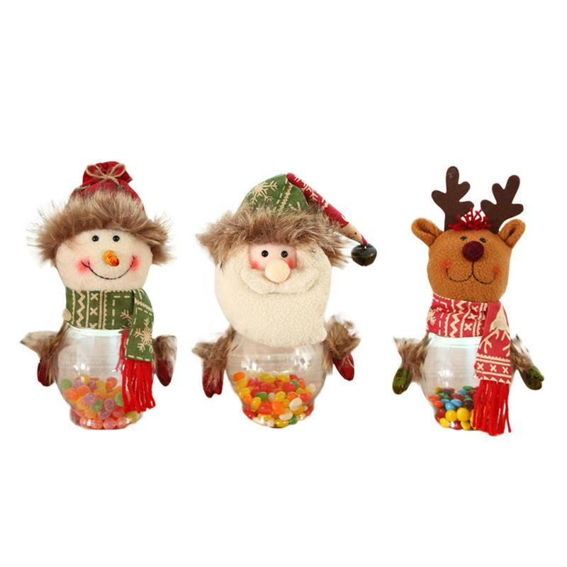 Decoraciones de los regalos de Navidad creativos para niños viejo muñeco de nieve Elk botella de la forma del regalo del caramelo puerta del armario Ventana Decoración festiva