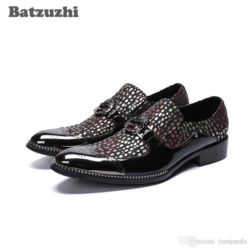 Nuovo arrivo uomo scarpe a punta con cappuccio in metallo nero colorato in pelle formale scarpe uomo slip-on Zapatos Hombre partito scarpe uomo