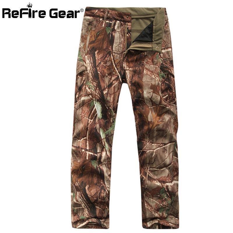 Refire Gear Winter Shark Skin Soft Shell Tactical Military Camouflage Men Windproof Waterproof Warm Camo Army Fleece Pants SH190816