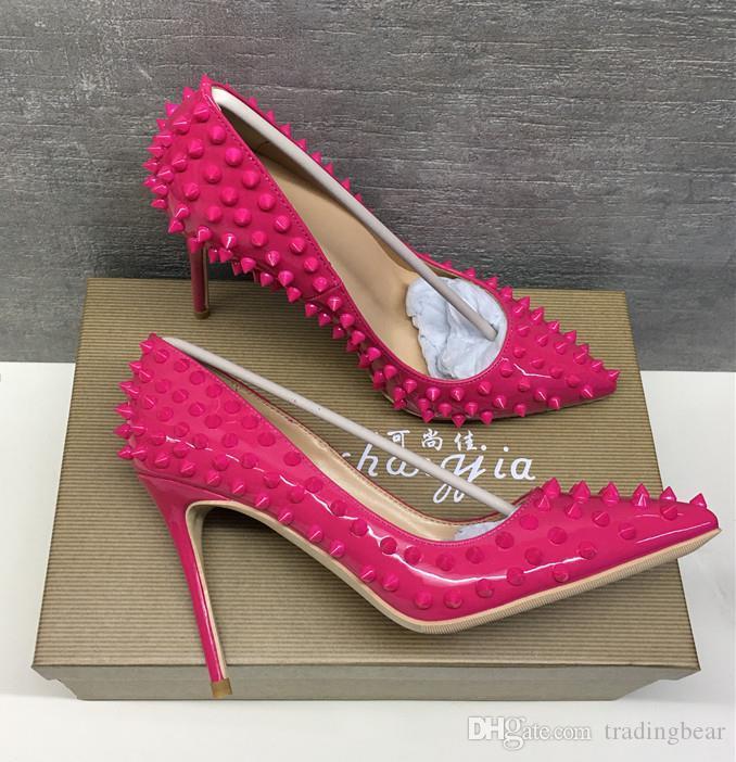Kadınlar Lady Kadın Kırmızı Alt Çıplak Rugan Mor Poined Ayak parmakları Düğün Topuklar Stiletto Yüksek Topuklar ayakkabılar 12cm tradingbear pompalar