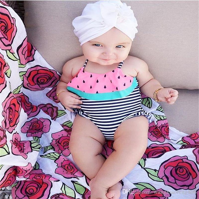 Toddler Infant One Piece Beachwear Striped Watermelon Baby Girl Swimsuit Bandage Bikini Swimwear Backless Baby Cute Bathing Suit
