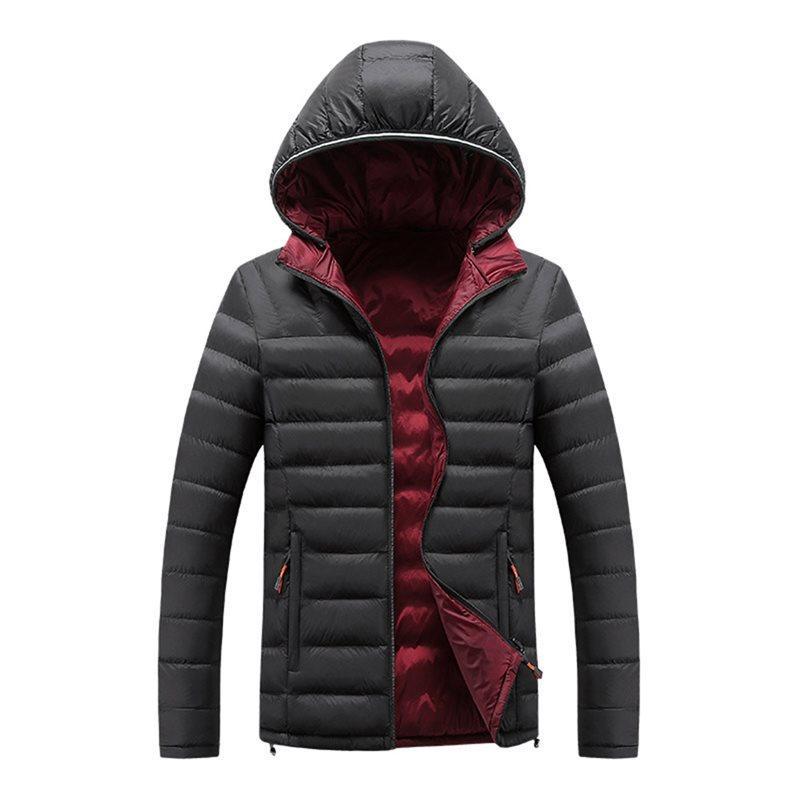 Hommes solide Couleur Down Jacket Moto Biker chaud plus épais velours Veste Chauffante école Casual Wear manteau à capuchon sur les deux côtés manteau