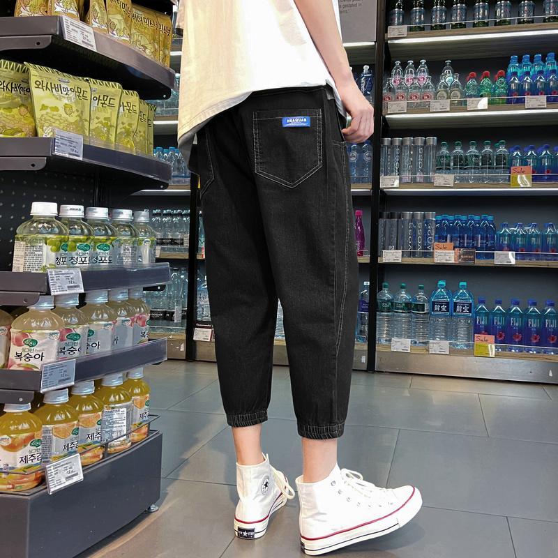 2020 الصيف قسم رقيقة الجينز للرجال العلامة التجارية الشارع فضفاضة كبيرة الحجم الرياضية سبعة السراويل بنطال رياضة عارضة القطن نمط الصينية
