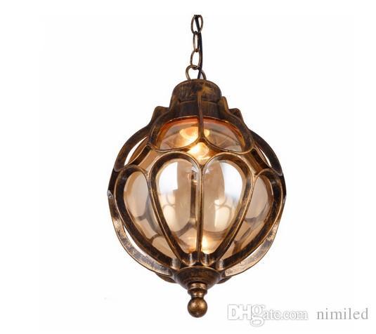Loft Vintage Industrial Waterproof Outdoor Glass Chandeliers Vineyard Villa Garden Balcony Hall Europe Style Pendant Lighting LLFA
