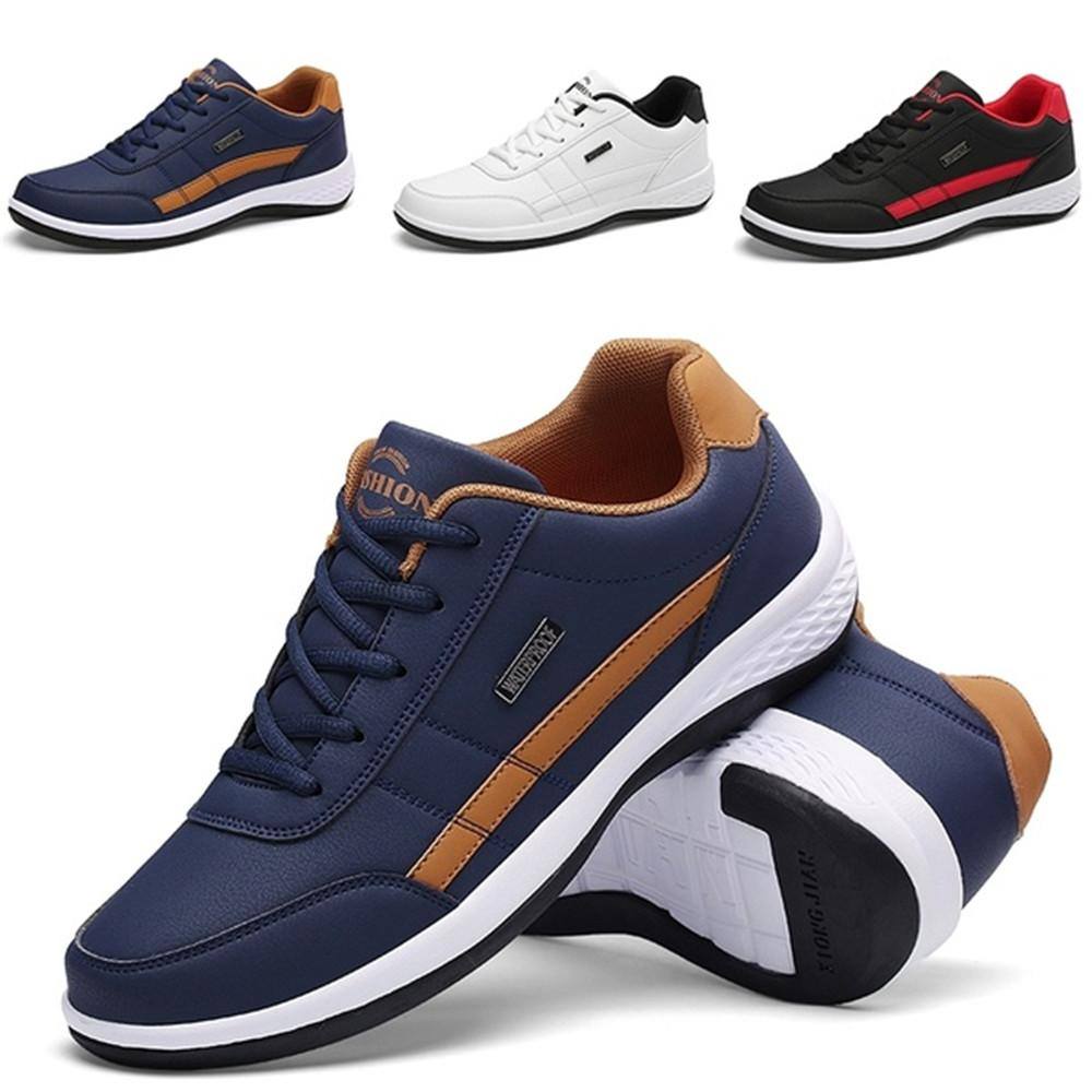 Men neaker Shoes Fashion Casual Shoes Sports Running Navy Waterproof non-slip leather blue,Black,White Size 39,40,41,42,43,44