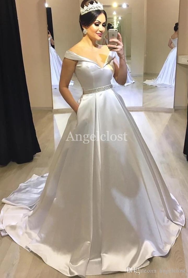 Pas cher robes robes de mariée épaule avec poches à fermeture éclair Retour Modeste Simple Jardin longue Stain Robes de mariée Robe de mariée sur mesure