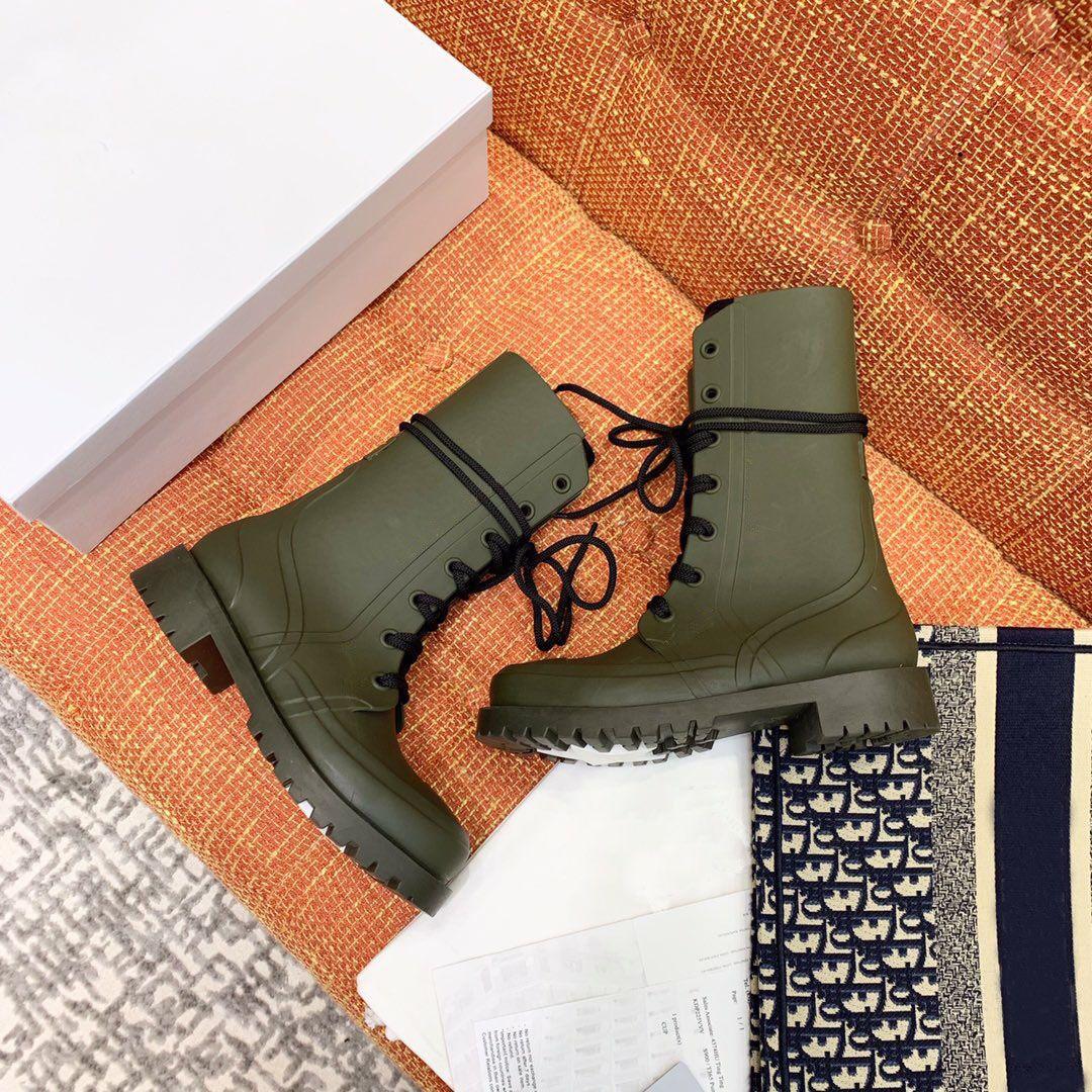 Hot Vente-Fashion bout rond Wedge Armée Bottines Fille Tactique Mi-mollet Bottes Combat étanche Chaussures à lacets