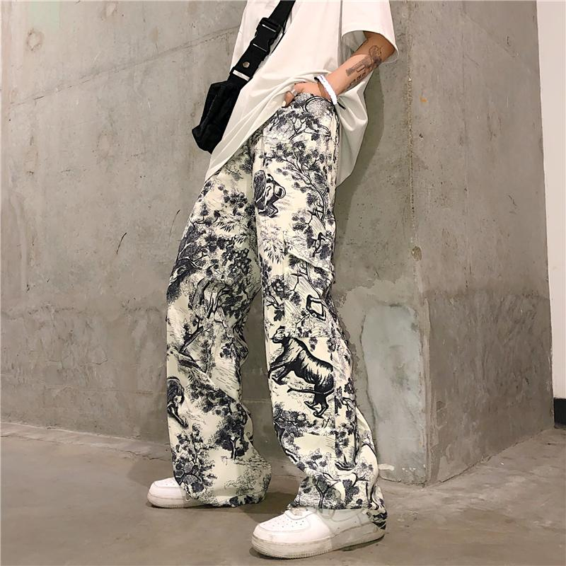 Graffiti Vintage Baskı Kargo Pocket Gevşek dize Bel Jogger Pant Harajuku Streetwear Kore Punk Pantolon Yaz Hip Hop Parça