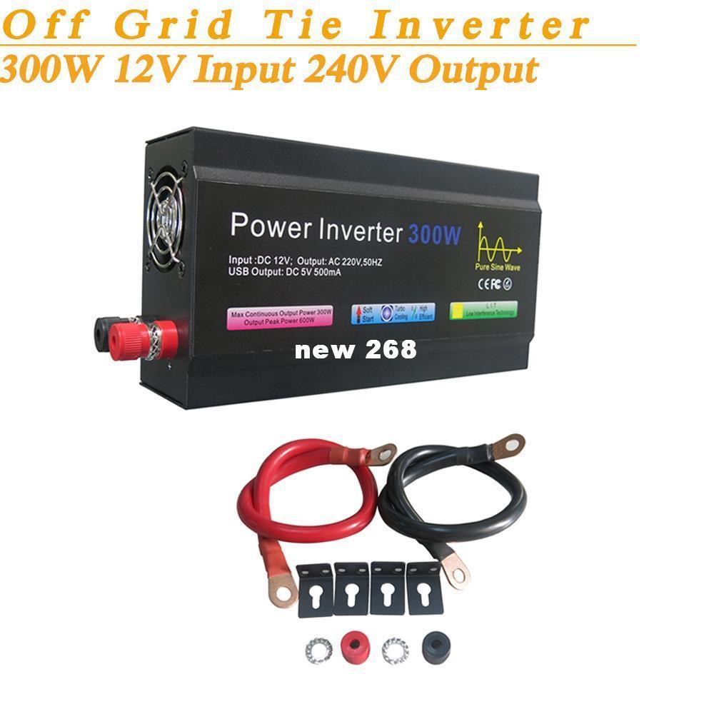 Full Power 300W Off Grid Pure Sine Wave Inverter DC12V Input 240V Output Soft Start High Conversion Efficiency with USB 5V 500mA
