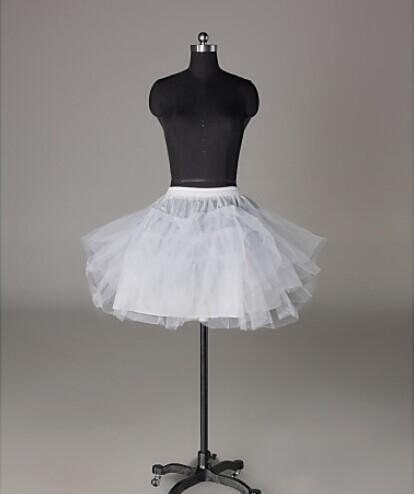 في المخزون التنورات الداخلية اكسسوارات الزفاف 3 طبقات Hoopless قصيرة قماش قطني أبيض زهرة فتاة اللباس أطفال الأميرة تحتية