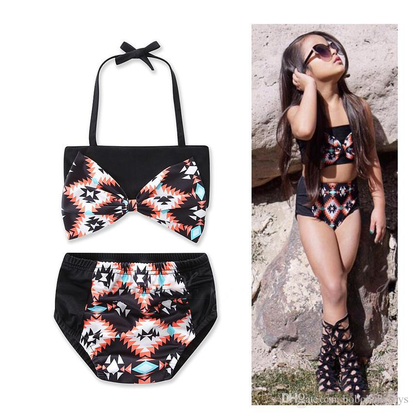 Cotton Girl Bikini Hit Color Match Split Swimwear Style 2 pcs Small Fresh Korean Version of the fashion cool New Black geometric printing