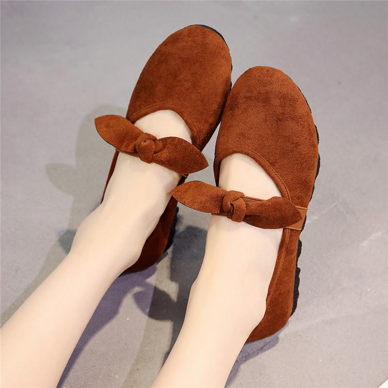 2020 neue Tuchschuhe Schuhe der Frauen einzelne schwarze Arbeit Gürtel Mutter schwangere Frauen flach