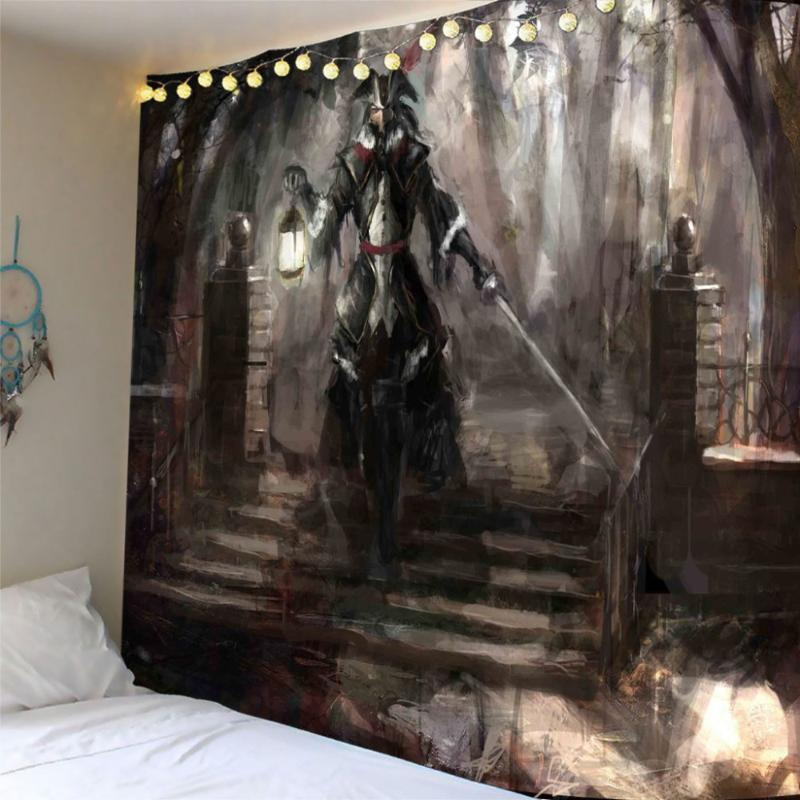Painting knight Tapestries Wall Hanging Bohemian Tapestry Camping Tent Travel Sandy Beach Picnic Throw Customized
