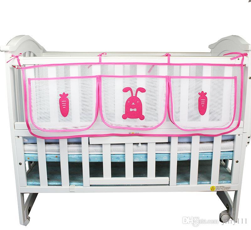 Cartoon Hanging Storage Bag Baby Cot Bed Brand Baby Crib Organizer Toy Diaper Pocket For Crib Bedding Set Storage Bed Bumper LE355