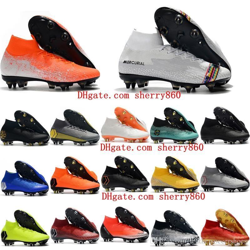 2019 erkek futbol Mercurial Superfly VI 360 LVL UP Elite SG AC futbol ayakkabıları CR7 krampon yüksek ayak bileği Tacos de futbol kaliteli pervazları