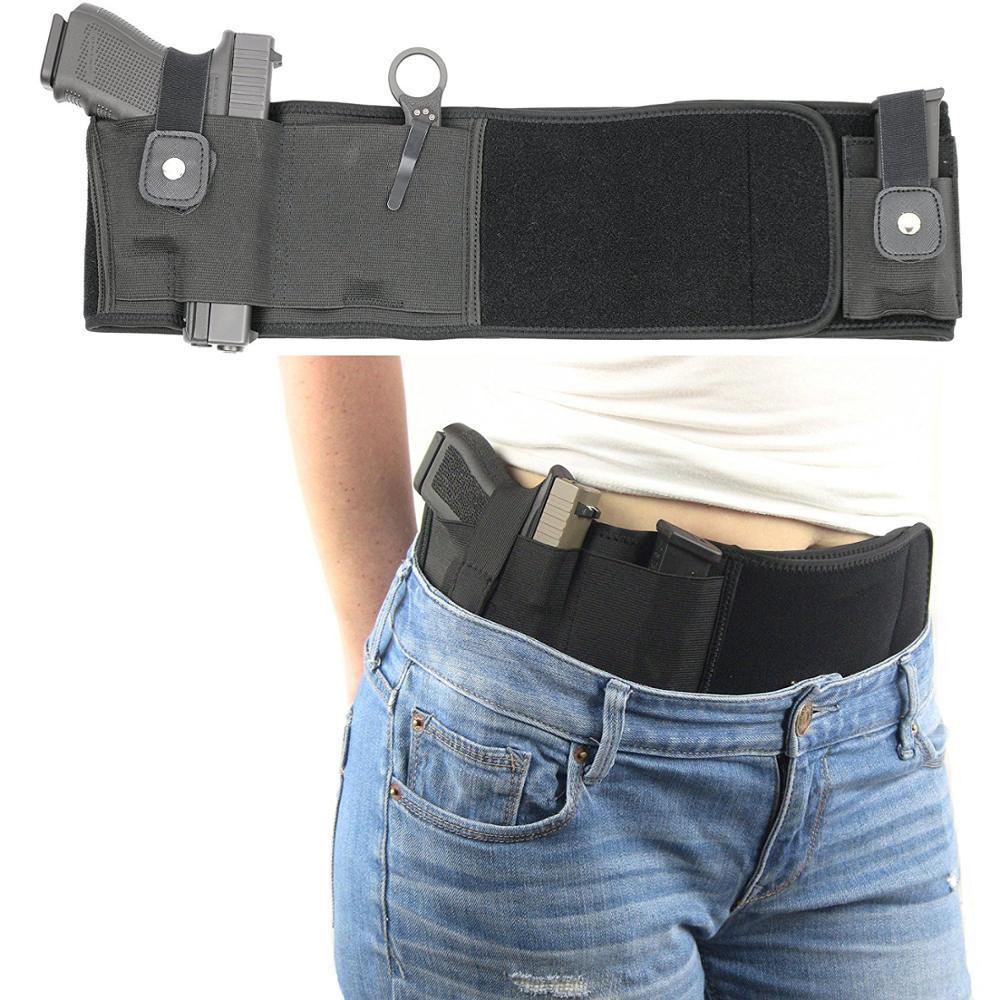 Tactical ultimo Belly Banda IWB Fondina per Nascosto Carry Draw regolabile tattico Vita pistola Holster della mano sinistra