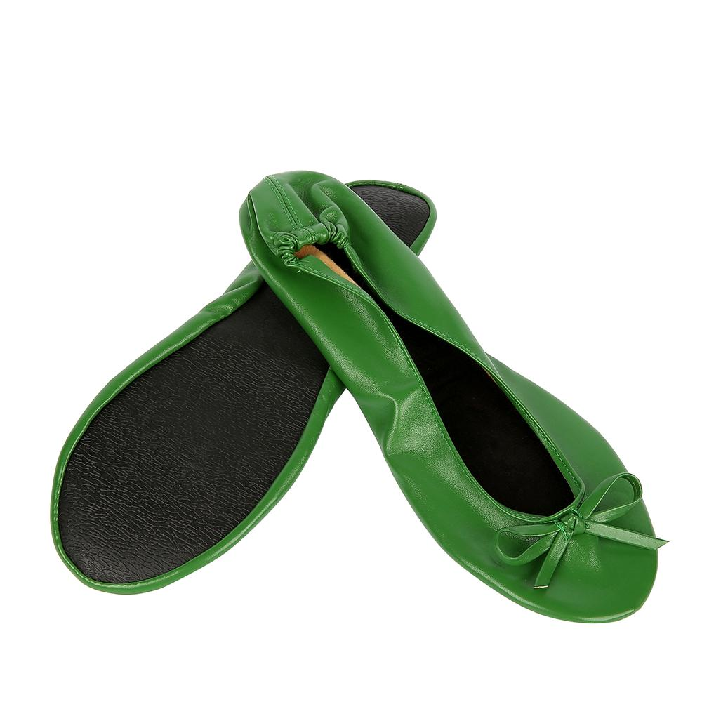 Green Shoe Flats Portable Fold Up Ballerina Flat Shoes Roll Up Foldable Ballet after Party Shoe For Bridal Wedding Party Favor