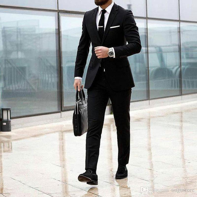 Casual Black Business Outfit Homme Costumes pour le mariage Custom Made Terno Masculino Prom Man Blazer Homecoming Party 2piece Costume Homme Mariage