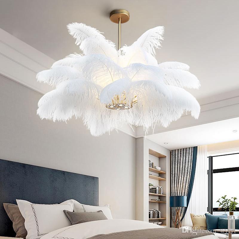 الطبيعية النعامة الريشة قلادة الأنوار LOFT بريق pendente نوم Hanglamp مطعم الإضاءة ديكو مصابيح AC 100-240V