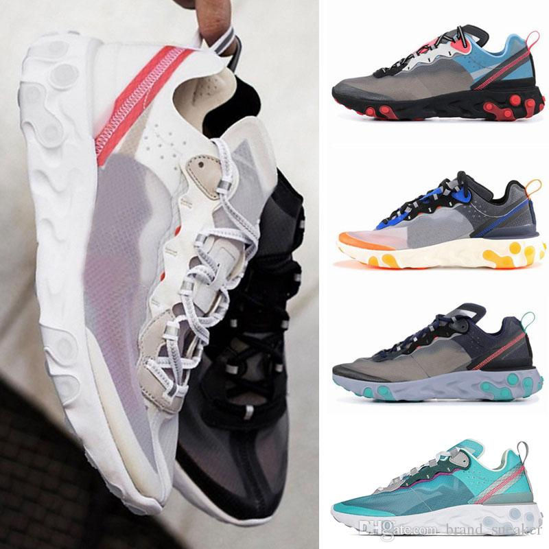 UNDERCOVER x React Element 87 Pack Womens Mens White Luxury Designer Sneakers Brand Mens Womens Trainers Running 87 Shoes Race Runners