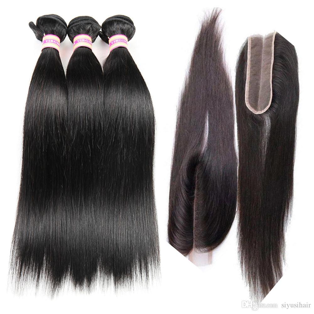 البرازيلي مستقيم الشعر حزمة مع 2x6 كيم كارداشيان الرباط إغلاق الجزء الأوسط اللون الطبيعي 100٪ غير المجهزة العذراء الإنسان الشعر