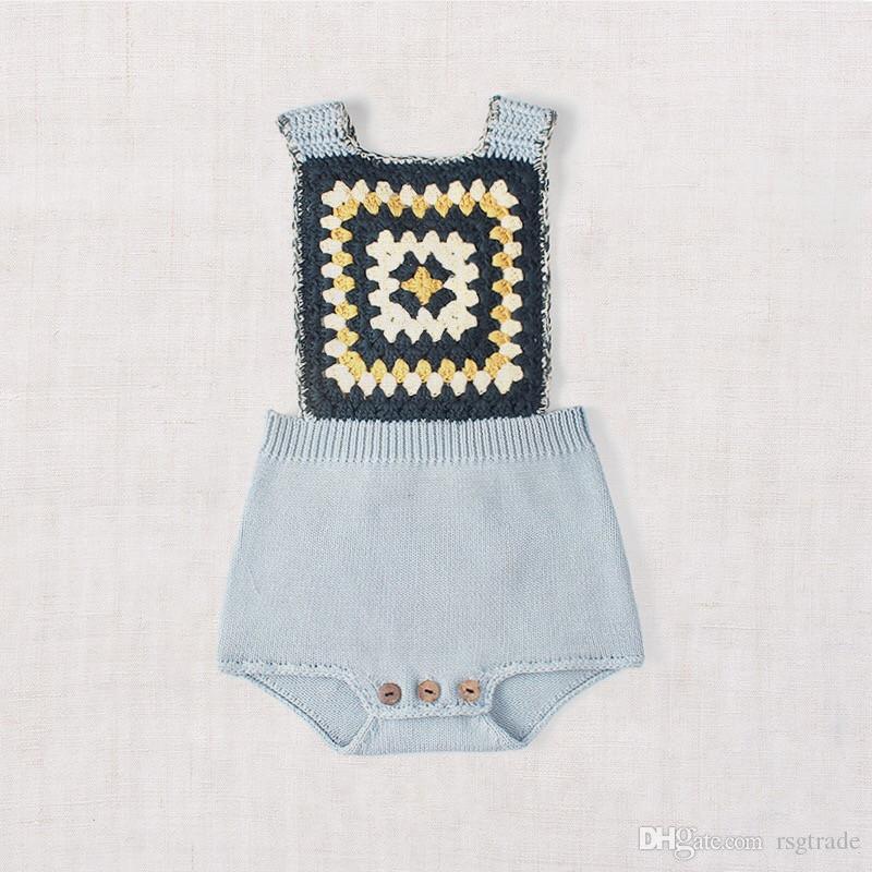 INS Abbigliamento per bambini stile europeo e americano bambina bambino tinta unita maglione di cotone maglia pagliaccetto pagliaccetti di cotone di alta qualità