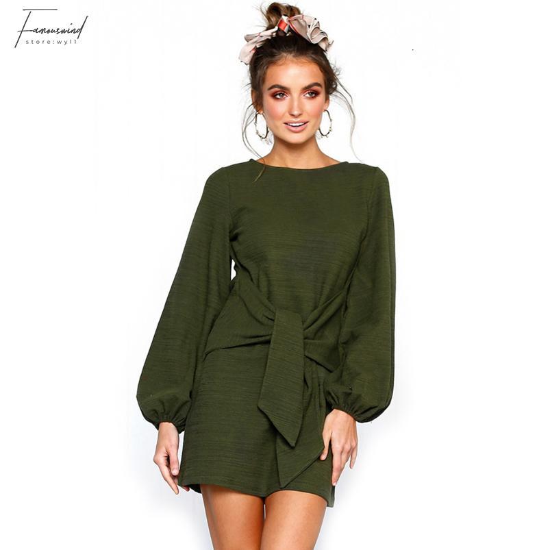 Твердая Повседневный Пояса платье женщин Осень Длинные рукава O шеи Bodycon Mini Short Платье Vintage Mujer Elegante Дизайнер одежды