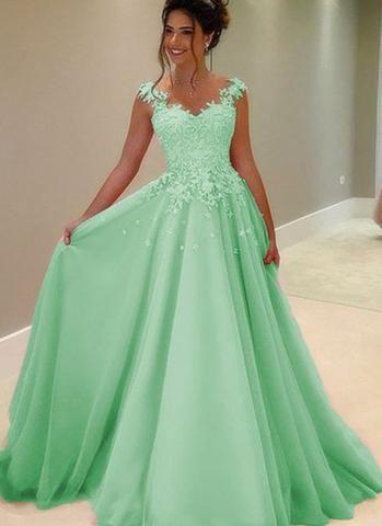 Compre Elegante Verde Menta Vestidos De Baile Largo Bateau Sheer Cuello Apliques Con Cuentas Lentejuelas Encaje 2019 Noche Barata Vestido Formal Para
