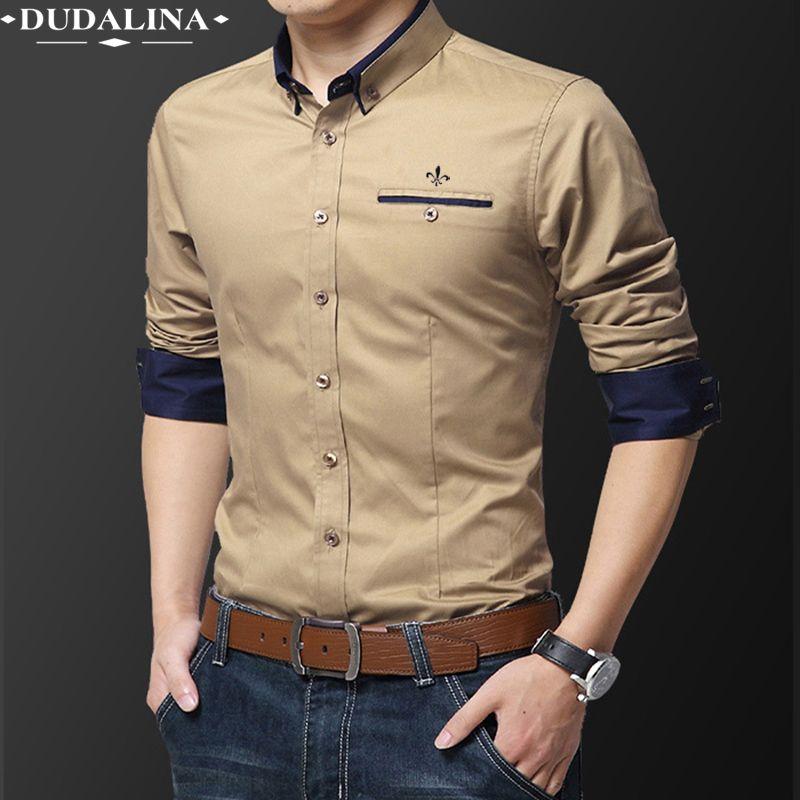 Pocket Fashion Blusa Camisa Social Masculina Dudalina Long Sleeve Slim Fit Shirt Men Floral Clothes Pullover White Male Cold CX200619
