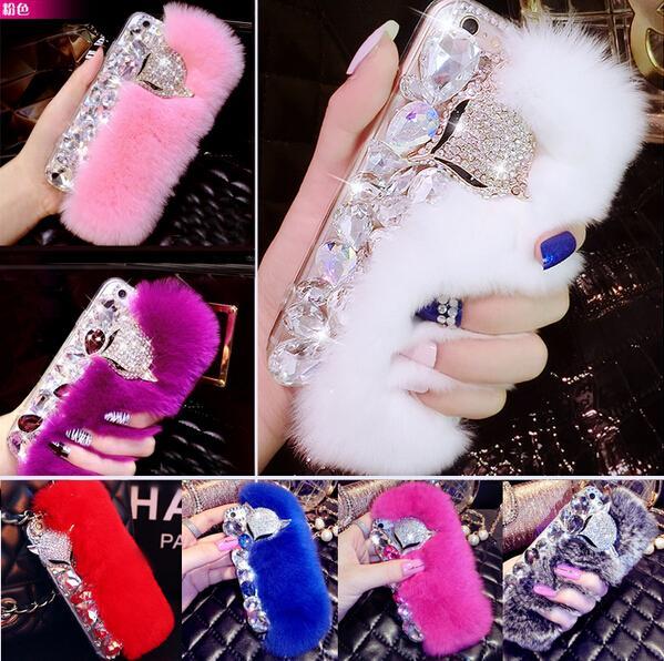 3D New Big Diamond Echt Kaninchenfell Soft Cover Fall für Iphone X 6 6 s 6 Plus 7 8G 7 8 Plus Top Qualität Luxus Bling Strass Fall