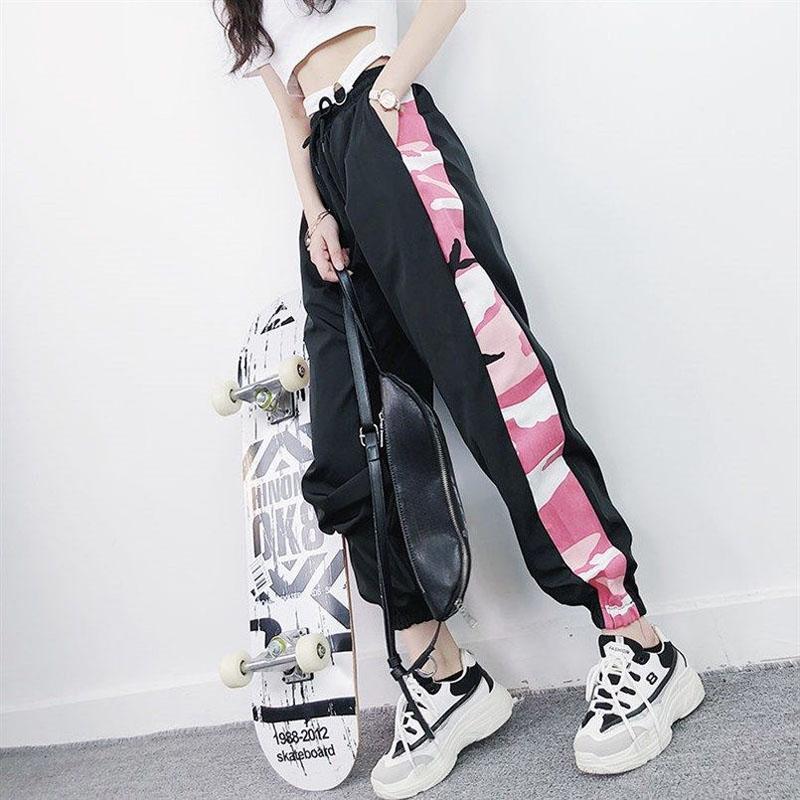Kadınlar Yeni Gevşek İpli Jogger Pantolon Artı boyutu Kadın Moda Yüksek Bel Hip Hop Streetwear Pantolon Günlük Ayak bileği uzunlukta Pant