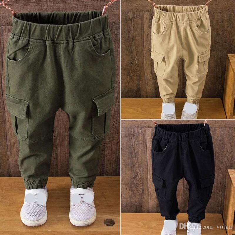 الصبي السراويل الاطفال ربيع الخريف الملابس الصلبة الأطفال السراويل للأطفال بنين بنطلون Size100 ~ 150 الصغار